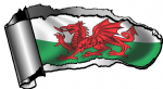 Ripped Open Gash Torn Metal Design With Welsh Dragon Wales CYMRU Flag Motif External Vinyl Car Sticker 140x75mm